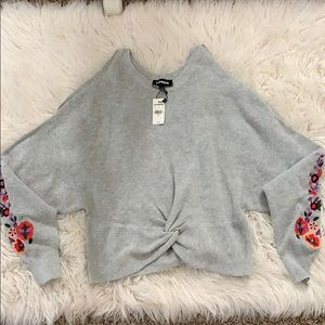 Express Peek A Boo Sweater, NWT Floral embroidered